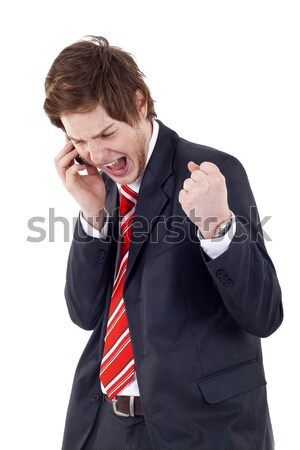 Stock photo: Young business man, listening