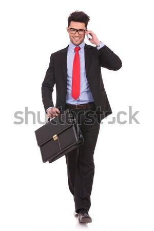 Mann Koffer Telefon Bild jungen Stock foto © feedough