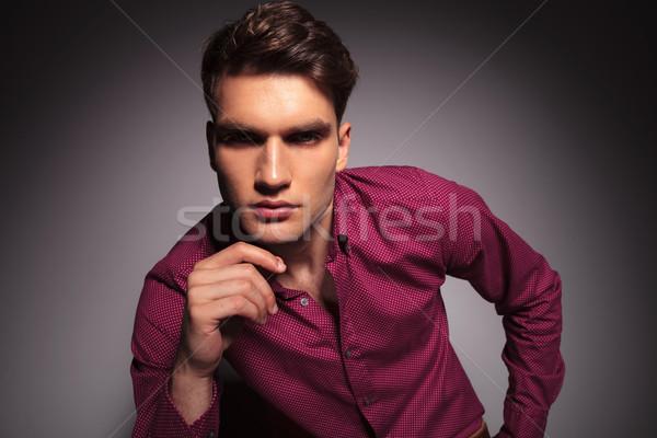 Attrattivo uomo mano mento Foto d'archivio © feedough