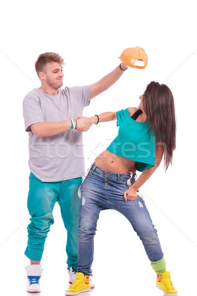 хип-хоп пару вокруг человека Hat голову Сток-фото © feedough