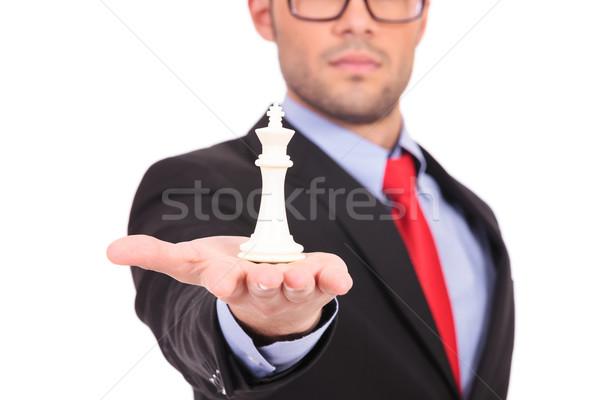 Hombre rey del ajedrez palma jóvenes hombre de negocios Foto stock © feedough
