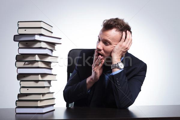Iş adamı kitaplar genç oturma Stok fotoğraf © feedough