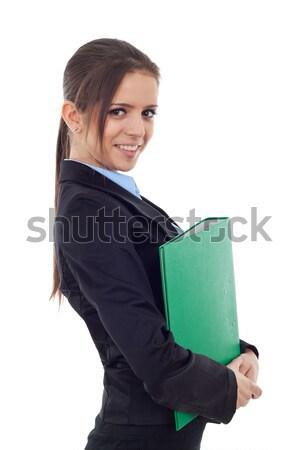 Jonge zakenvrouw portefeuille glimlachend geïsoleerd Stockfoto © feedough