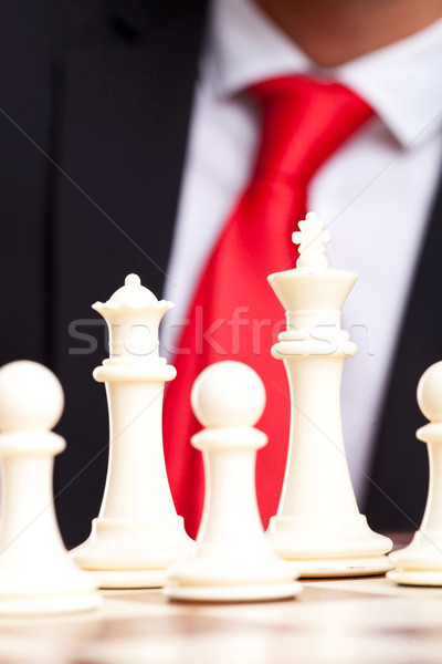 White chess king, queen and pawns Stock photo © feedough