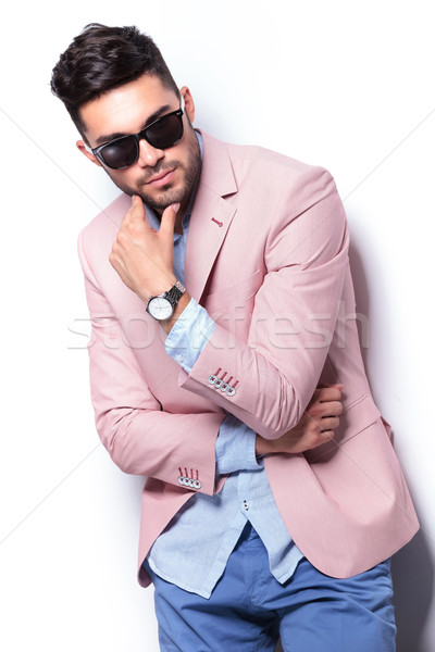 casual man looking down thoughtfully Stock photo © feedough