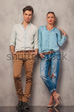 casual man leaning elbow on his girlfriend Stock photo © feedough