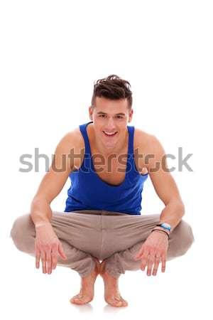 Férfi lefelé mezítláb kilátás lezser fiatalember Stock fotó © feedough