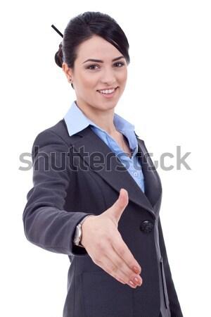 Pozytywny business woman uśmiechnięty biały działalności dziewczyna Zdjęcia stock © feedough