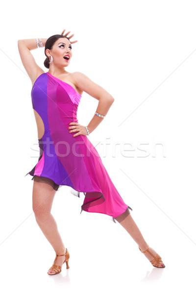 Salsa dansçı güzel poz genç kadın dans Stok fotoğraf © feedough