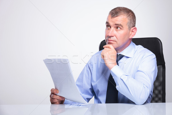 old business man is pensive at office Stock photo © feedough