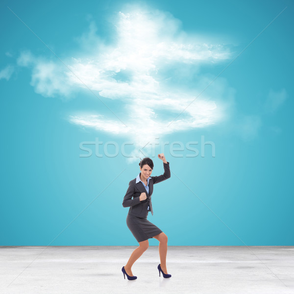 Stock photo: business woman gesturing her success