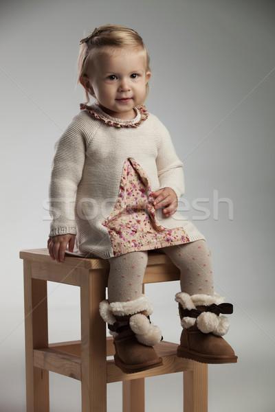 девочку улыбаясь трикотажный платье Сток-фото © feedough