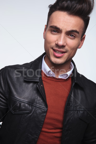 headshot picture of a cool young fashion guy smiling  Stock photo © feedough