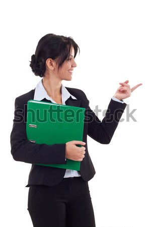 young business woman holding a portfolio and showing something Stock photo © feedough