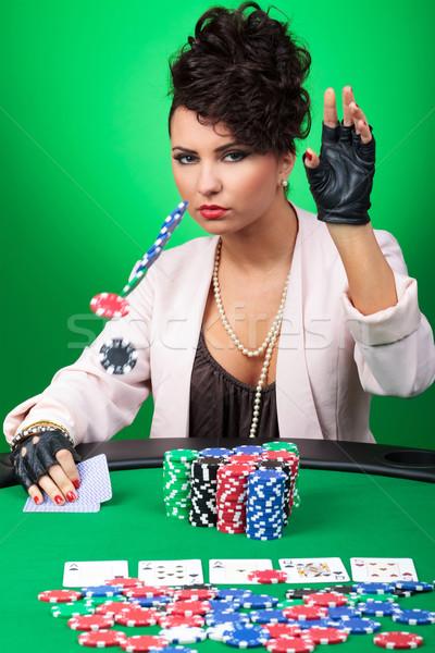 Szexi nő póker fogadás szexi fiatal hölgy Stock fotó © feedough