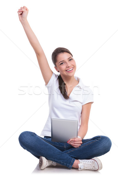 casual woman sits, cheers & tablet Stock photo © feedough