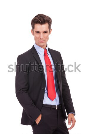 business man sitting on chair with one hand in pocket Stock photo © feedough