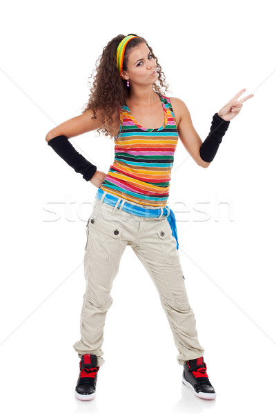woman being happy and gesturing victory Stock photo © feedough