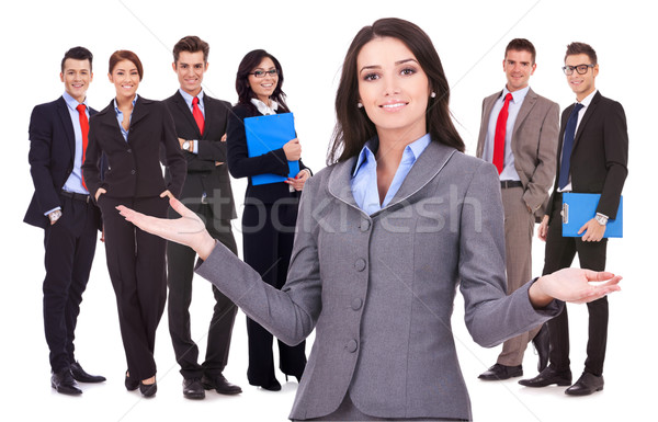 business woman welcoming to her team Stock photo © feedough
