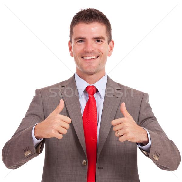 business man both thumbs up Stock photo © feedough