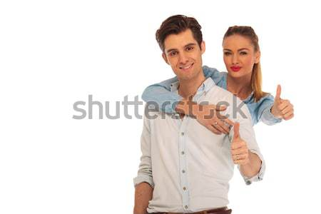 woman holding man from behind Stock photo © feedough