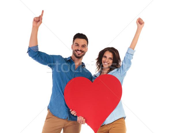 Stock photo: happy couple celebrating love on white background