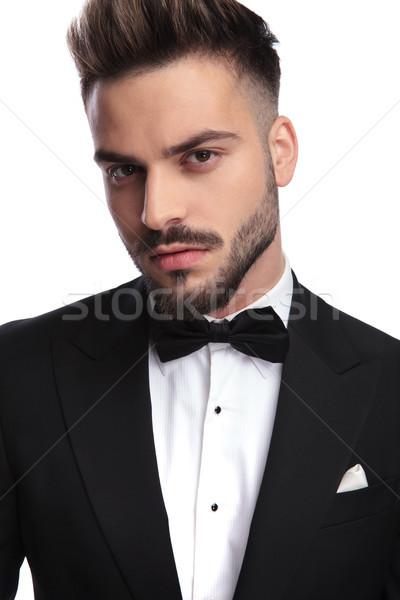 Portret jonge knappe man smoking witte Stockfoto © feedough