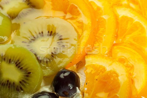 kiwi, grapes and orange topping Stock photo © feedough