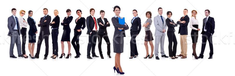 Сток-фото: деловой · женщины · студент · ведущий · команда · изолированный · белый