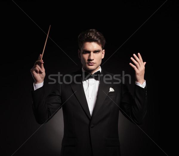 Eleganten Mann Orchester Porträt schauen Vorderseite Stock foto © feedough
