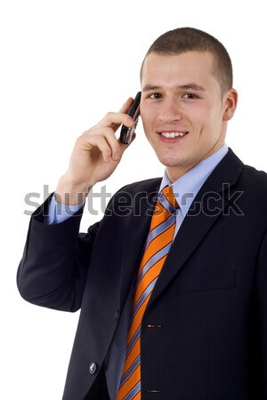 young business man talking on the phone is checking time Stock photo © feedough