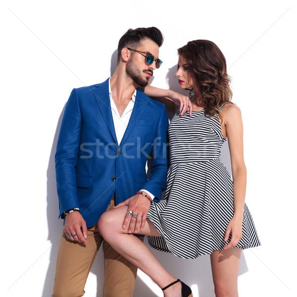 Seksi adam el uyluk poz Stok fotoğraf © feedough