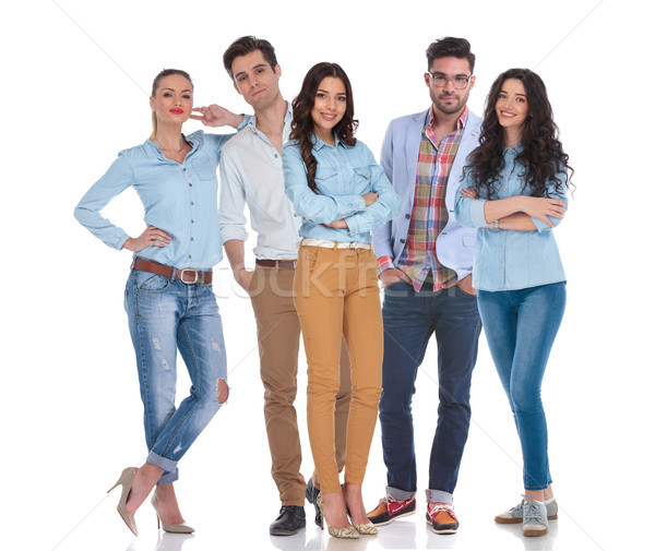 smart casual group of five people standing  Stock photo © feedough