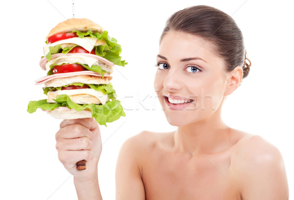 Young woman with a sandwich on a spike Stock photo © feedough