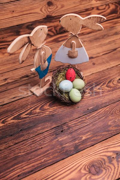 Stok fotoğraf: Resim · üzerinde · ahşap · Paskalya · yumurta · sepeti · eski · ahşap