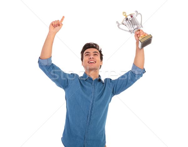 Férfi kezek levegő ünnepel siker izgatott Stock fotó © feedough