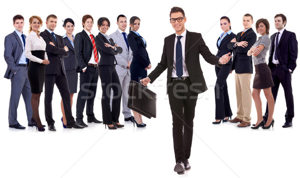 leader walking with briefcase in his hand Stock photo © feedough