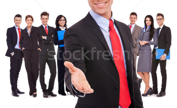 business man welcoming to the team with handshake Stock photo © feedough