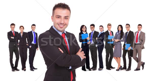 Photo stock: Leader · permanent · réussi · équipe · commerciale · jeunes · blanche