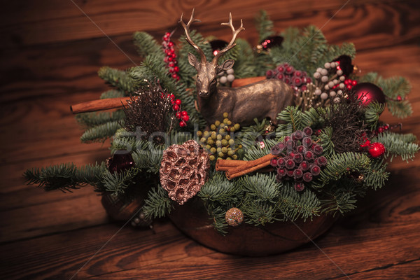 Stock photo: beautiful table decoration for christmas