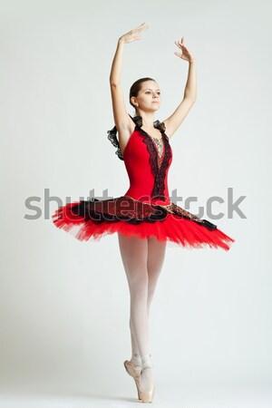 Pani czerwona sukienka piękna młodych dance Zdjęcia stock © feedough