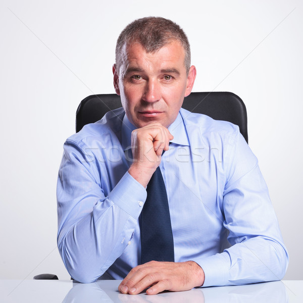 portrait of an old business man at desk Stock photo © feedough