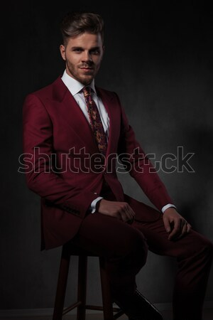elegant man standing with arms crossed looks to side Stock photo © feedough