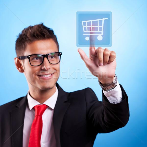 ストックフォト: ビジネスマン · ショッピング · ボタン · タイプ · 現代