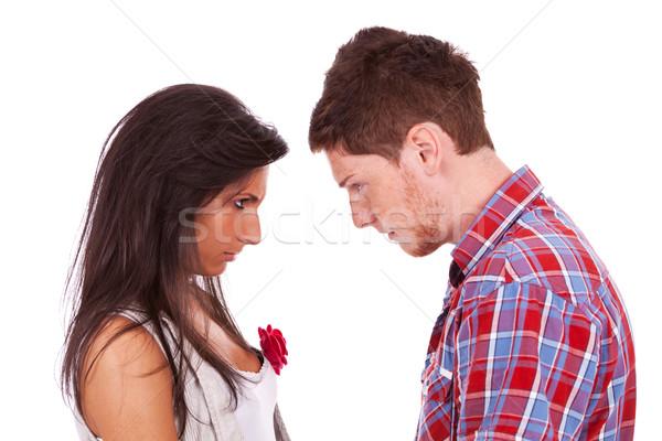 Paar Kopf Argument isoliert weiß Mann Stock foto © feedough