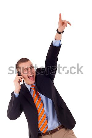 business woman cheers on the phone Stock photo © feedough