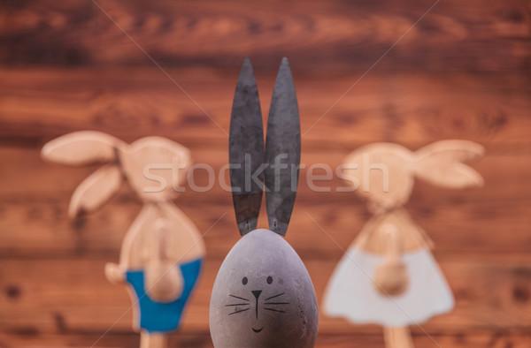 イースターエッグ ウサギ 耳 カップル 古い木材 愛 ストックフォト © feedough