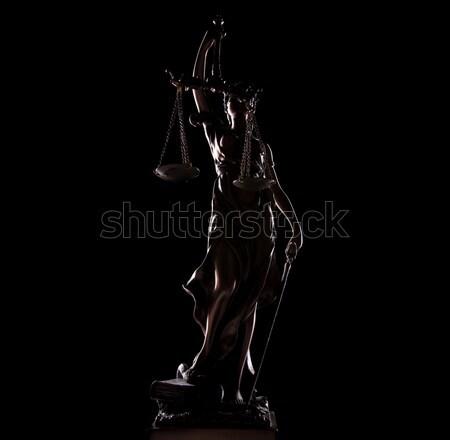 Godin standbeeld zwarte justitie achtergrond portret Stockfoto © feedough