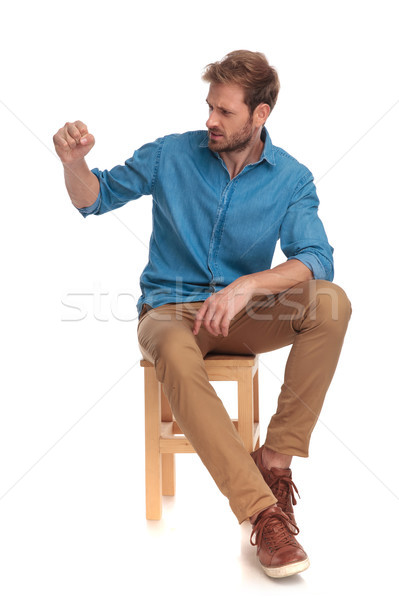 Stock photo: violent casual man ready to fight
