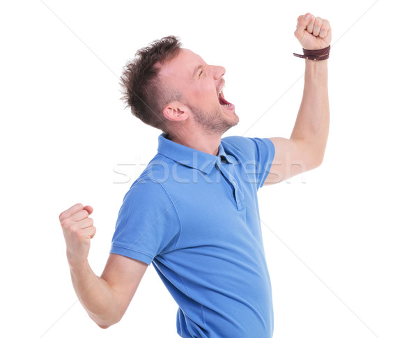 casual young man screaming loudly Stock photo © feedough